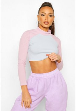 Lilac purple Tall Long Sleeve Rib Colour Block High Neck Top