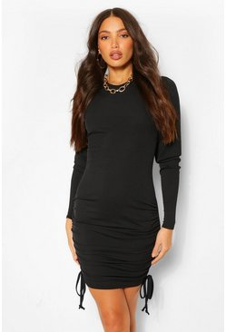 Black Tall Ruched Long Sleeve Rib Dress