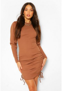 Tall Ruched Long Sleeve Rib Dress, Chocolate marron