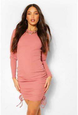 Rose pink Tall Ruched Long Sleeve Rib Dress