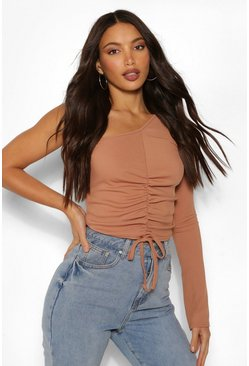 Toffee beige Tall Rib One Shoulder Ruched Top