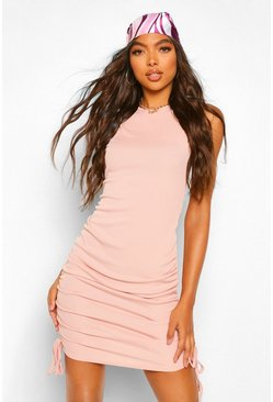 Blush pink Tall Rib Ruched Side Mini Dress