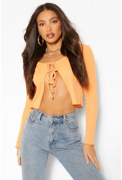 Orange Tall Rib Tie Front Cardigan