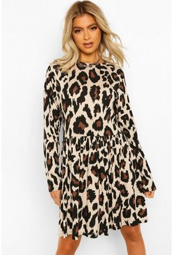 Brown Tall Leopard Print Long Sleeve Smock Dress