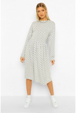 Grey Tall Polka Dot Long Sleeve Smock Midi Dress