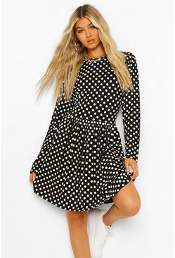 Black Tall Polka Dot Long Sleeve Smock Dress
