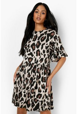 Brown Tall Leopard Print Smock Dress