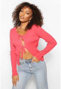 Pink Tall Double Tie Cropped Knitted Cardigan