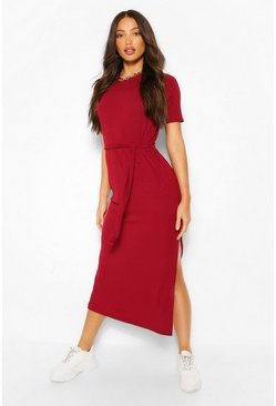 Berry red Tall Soft Rib Belted Midi Dress