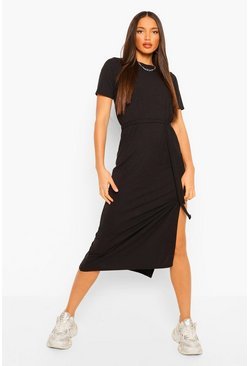 Black Tall Soft Rib Belted Midi Dress