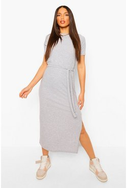 Grey marl grey Tall Soft Rib Belted Midi Dress