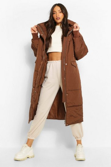 Chocolate brown Tall Longline Padded Coat