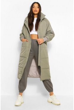 Grey Tall Longline Padded Coat