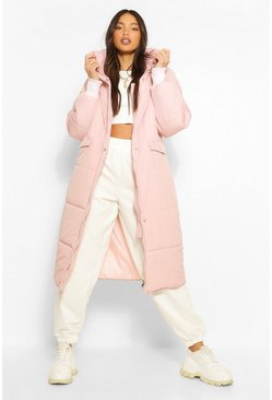 Pink Tall Longline Padded Coat