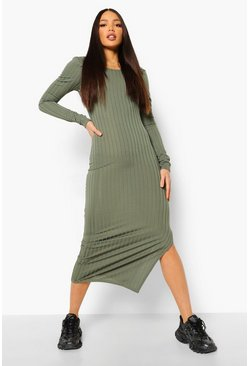 Khaki Tall Rib Scoop Neck Low Back Midaxi Dress