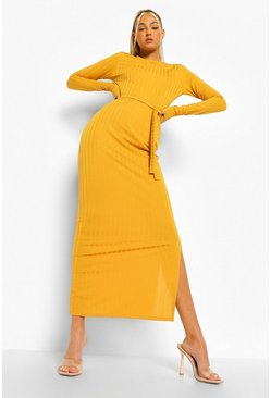 Mustard yellow Tall Rib Long Sleeve Belted Midaxi Dress