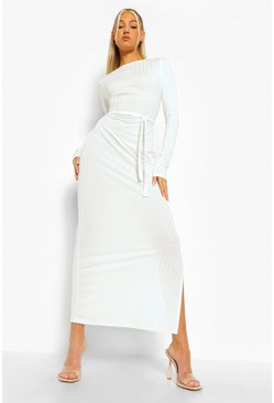White Tall Rib Long Sleeve Belted Midaxi Dress