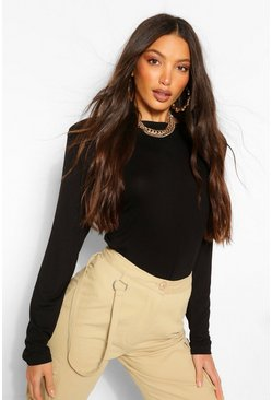 Black Tall Jersey Shoulder Pad Long Sleeve Top