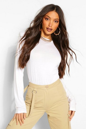 White Tall Jersey Shoulder Pad Long Sleeve Top