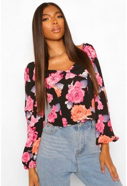 Black Tall Woven Floral Print Puff Sleeve Blouse