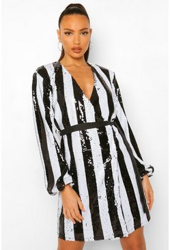 Black Tall Stripe Sequin Wrap Belted Mini Dress