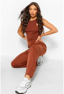 Chocolate brown Tall Wide Leg Joggers