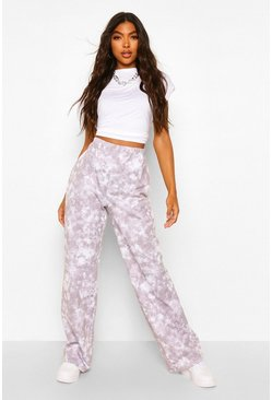 Grey Tall Tie Dye Wide Leg Joggers