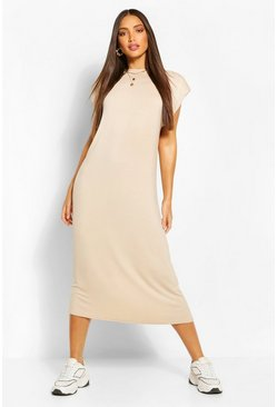 Camel beige Tall Shoulder Pad Midi Dress