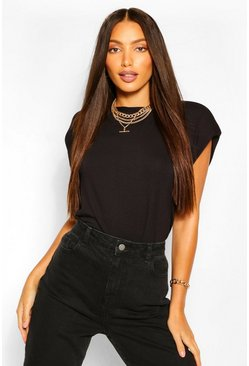 Black Tall Shoulder Pad T-Shirt