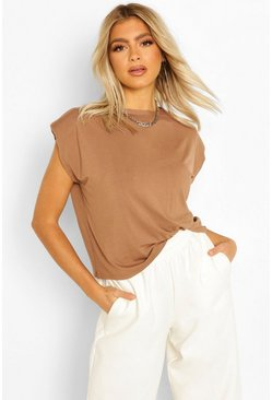 Coffee brown Tall Shoulder Pad T-Shirt