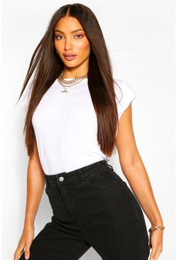 Wit white Tall Shoulder Pad T-Shirt