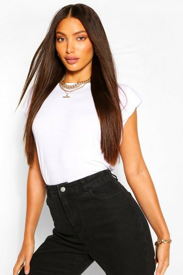 White Tall Shoulder Pad T-Shirt
