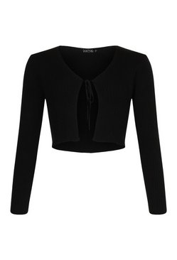 Black Tall Tie Cropped Knitted Cardigan