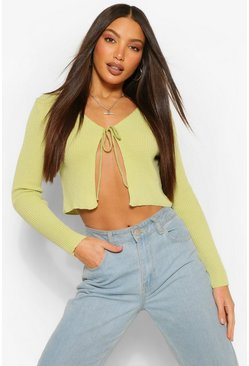 Lime green Tall Tie Cropped Knitted Cardigan