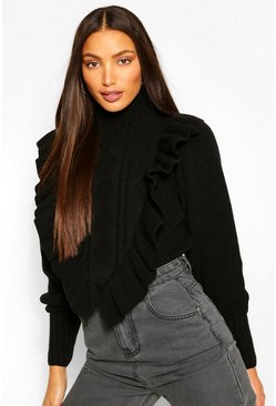 Black Tall Ruffle Knitted High Neck Jumper