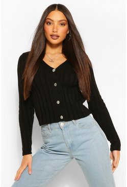 Black Tall Chenille Button Through Knitted Crop Cardigan