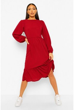 Berry Tall Tiered Smock Midi Dress