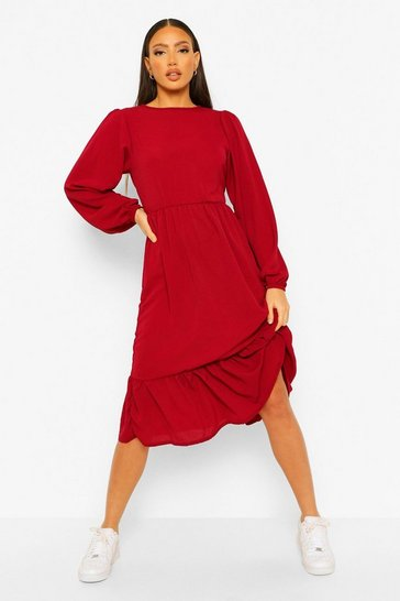 Berry red Tall Tiered Smock Midi Dress