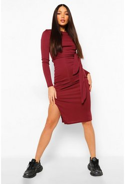 Berry red Tall Rib Tie Front Midi Dress