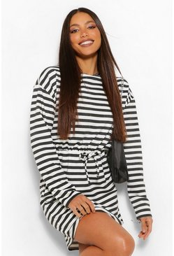 Black Tall Nautical Stripe Tie Front Smock Dress