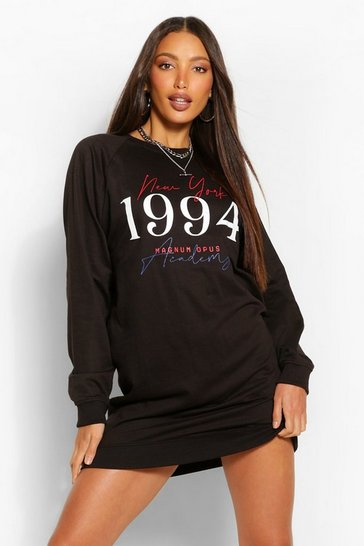 Black Tall 'New York 1994' Slogan Oversized Sweat Dress