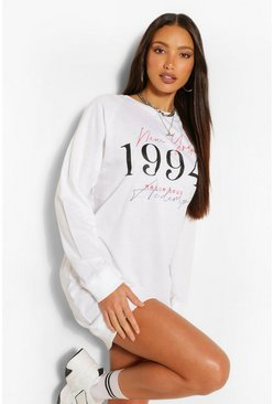 White Tall 'New York 1994' Slogan Oversized Sweat Dress
