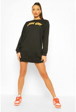 Black Tall 'Baby Girl' Slogan Oversized Sweat Dress