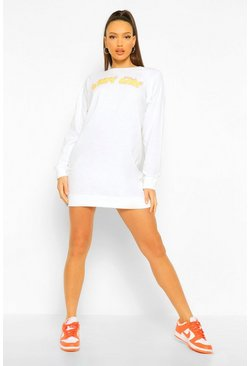 White Tall 'Baby Girl' Slogan Oversized Sweat Dress
