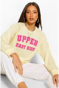 Tall 'Upper East Side' Slogan Oversized Sweater, Yellow gelb