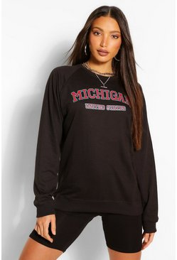 Black Tall 'Michigan' Slogan Washed Sweater