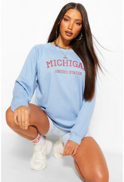 Blue Tall 'Michigan' Slogan Washed Sweater
