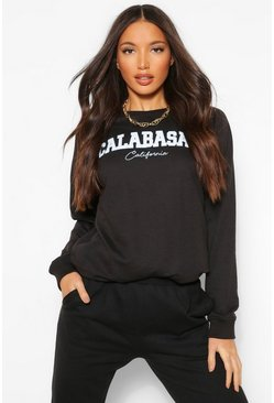 Tall 'Calabasas' Slogan Washed Oversized Sweater, Black noir