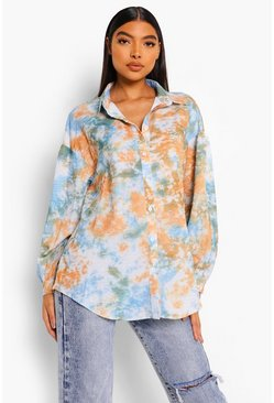 Blue Tall Tie Dye Oversized Shirt