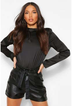 Black Tall Satin Shoulder Pad Bodysuit